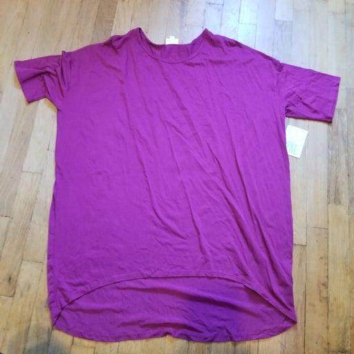 Lularoe Solid All Plain Pink Short Sleeve T Shirt Hi Low Women's Size 2XL NWT