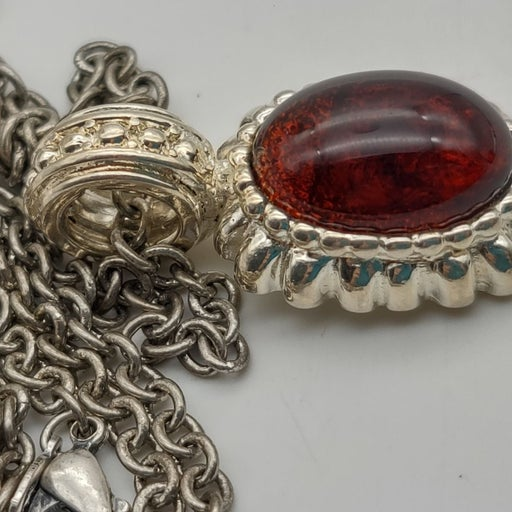 Red Cabochon Silver Long Necklace Signed