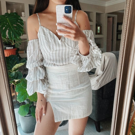 Striped Cold Shoulder Ruffle Sleeve Top