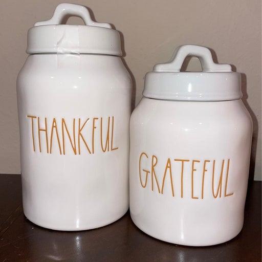 Rae Dunn Thankful Grateful Canister lot