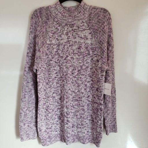 Croft & Barrow Purple/Gray Mock Turtlene