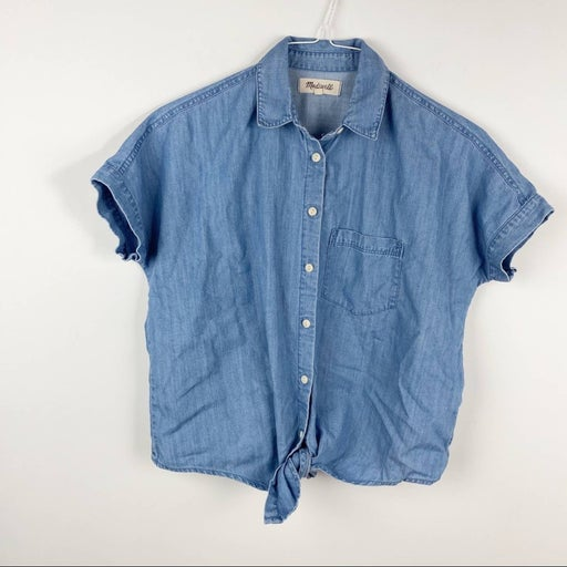 Madewell Denim Top Chambray Knot Front Pocket XXS Boxy Fit