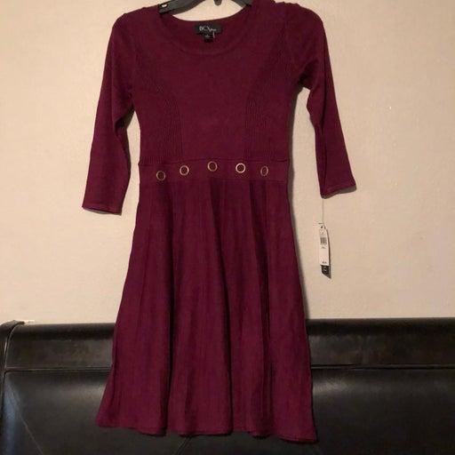 BCX Fit & Flare Sweater Dress Red Burgun