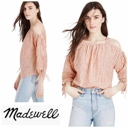 Madewell Cold-Shoulder Top in Red Stripe XXS