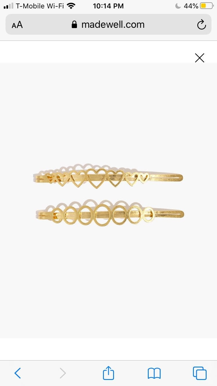 NEW Madewell Two-Pack Heart Hair Pins