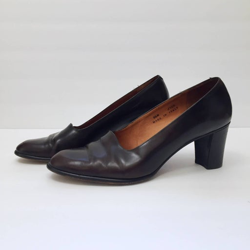 Vintage Coach Brown Leather Pumps 8.5M Chunky Heel