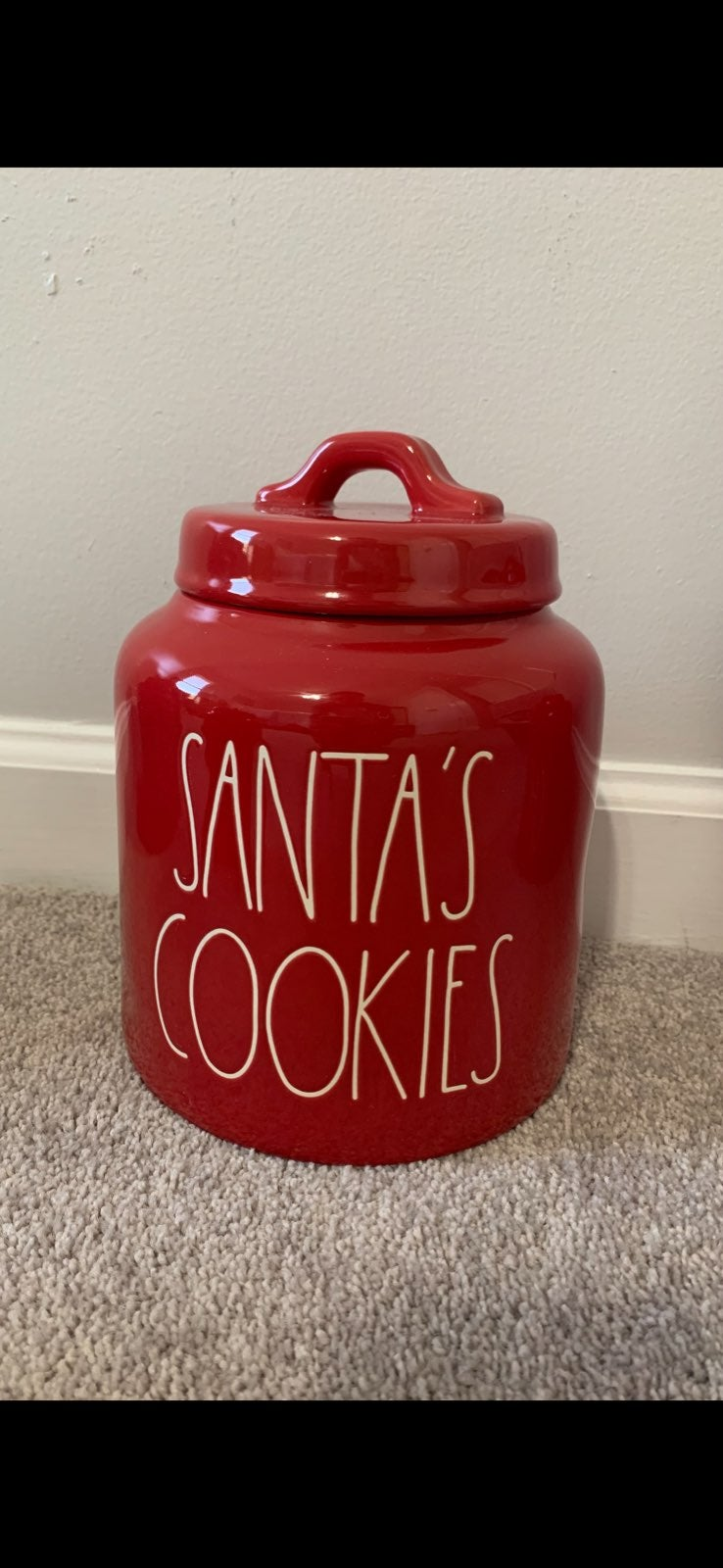 Rae Dunn santas cookies canister