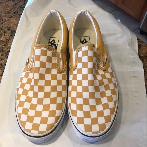 Checkered Vans slip ons - Yellow