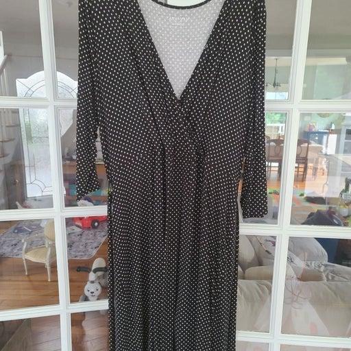 Black & white dot wrap dress