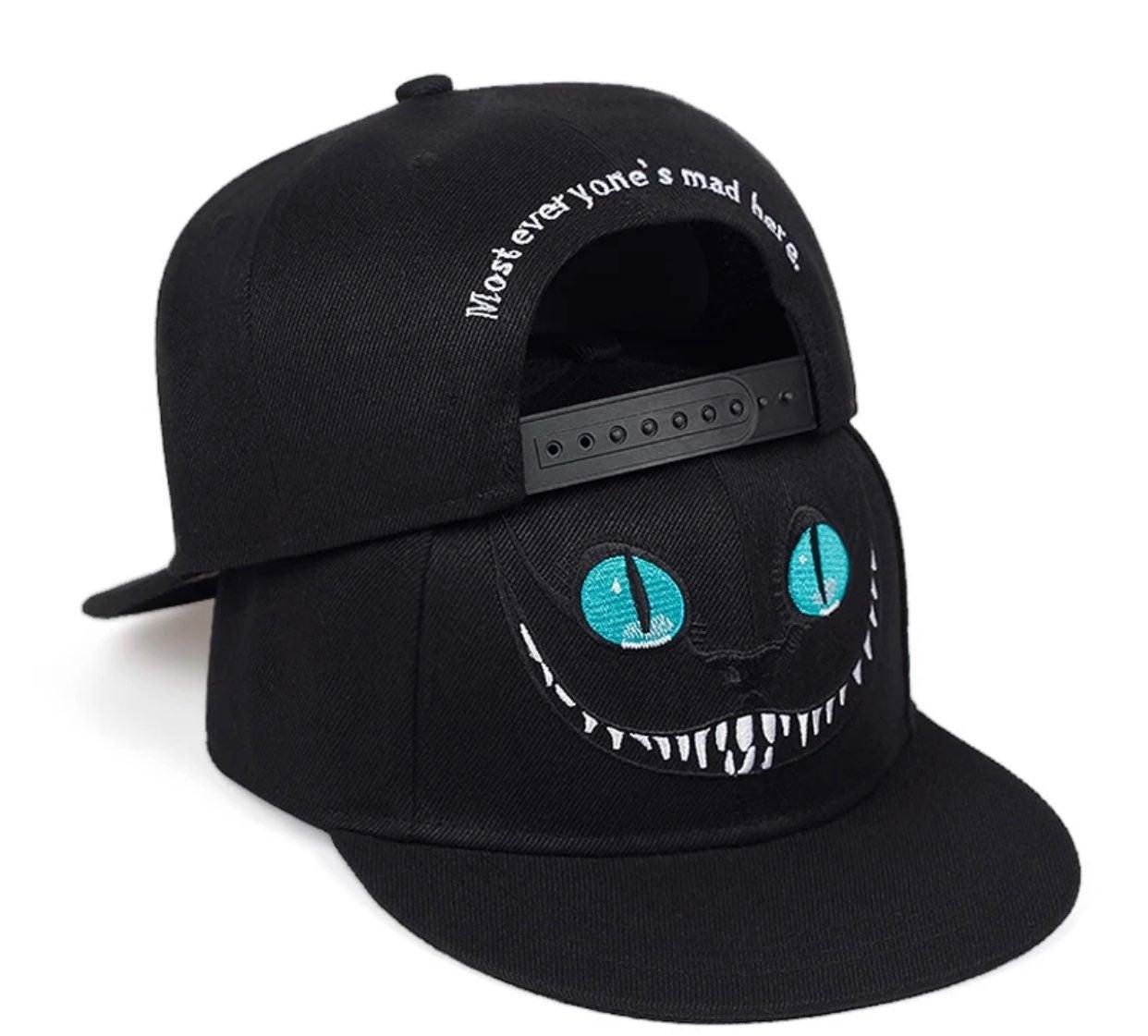 Black cheshire cat smile cap hat mad
