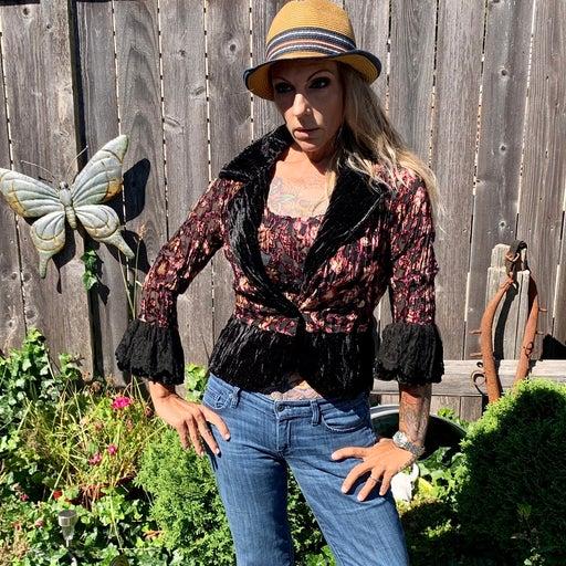 NWT Alberto Makali 2 piece blouse topper & tank velvet lace Victorian Gothic bel