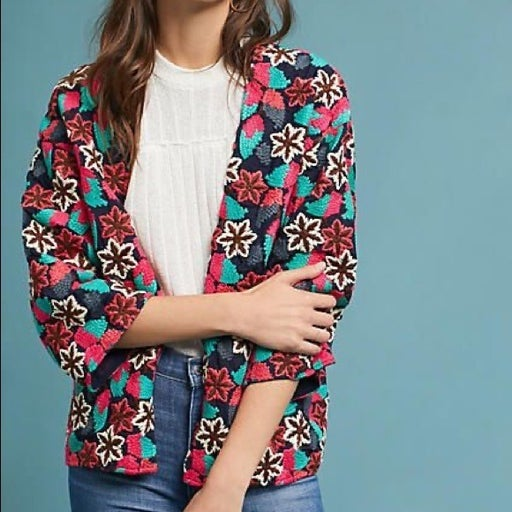 Anthropologie Seen Worn Kept Hydrangea Kimono Embroidered Jacket