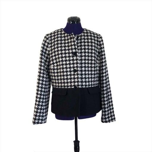 Talbots Black White Houndstooth Jacket