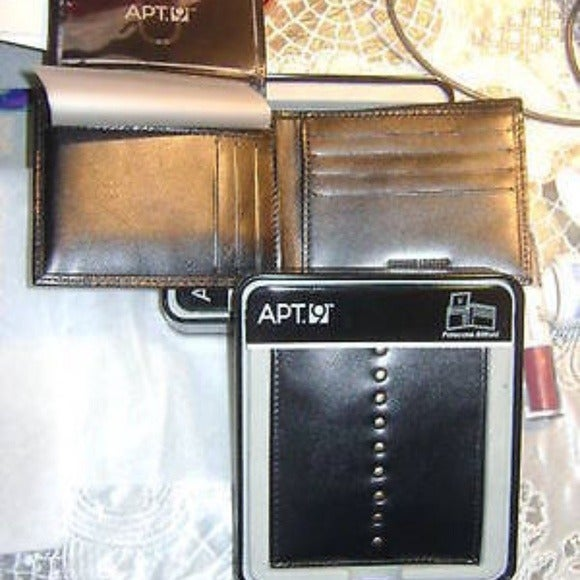 Men's Apt 9 Broome Slim Leather Black ID Billfold Wallet NWT Boxed Free S/&H