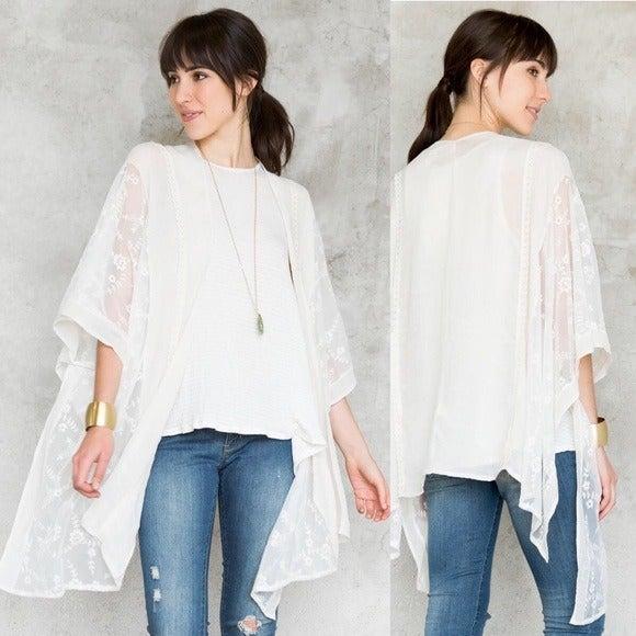 White Lace Kimono with Crochet Detail