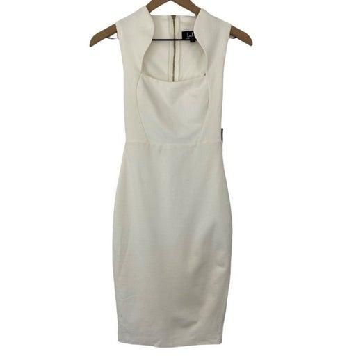 Lulus Ivory Queen Anne Neckline Sleeveless Bodycon Sheath Dress Women's Size XS