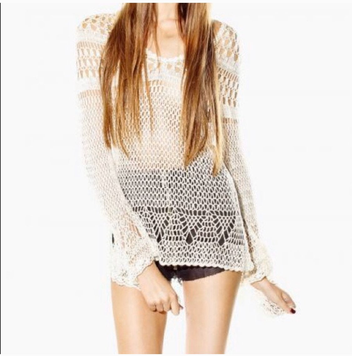 unif sheer crochet knit long bell sleeve