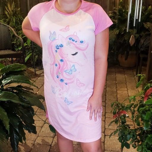 "Cuddl Duds Unicorn ""believe"" Nightgown Girls XL 14-16"
