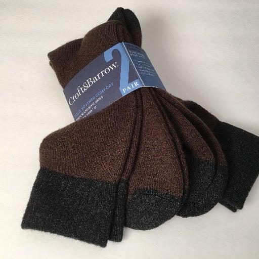 2 Pairs WOOL Blend Brown Boot Socks NEW