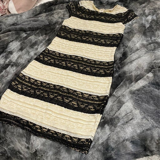 Chelsea and violet cream and black lace dress