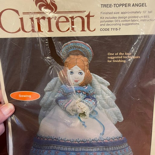 Vtg. Current Embroidery Angel Tree Toppe
