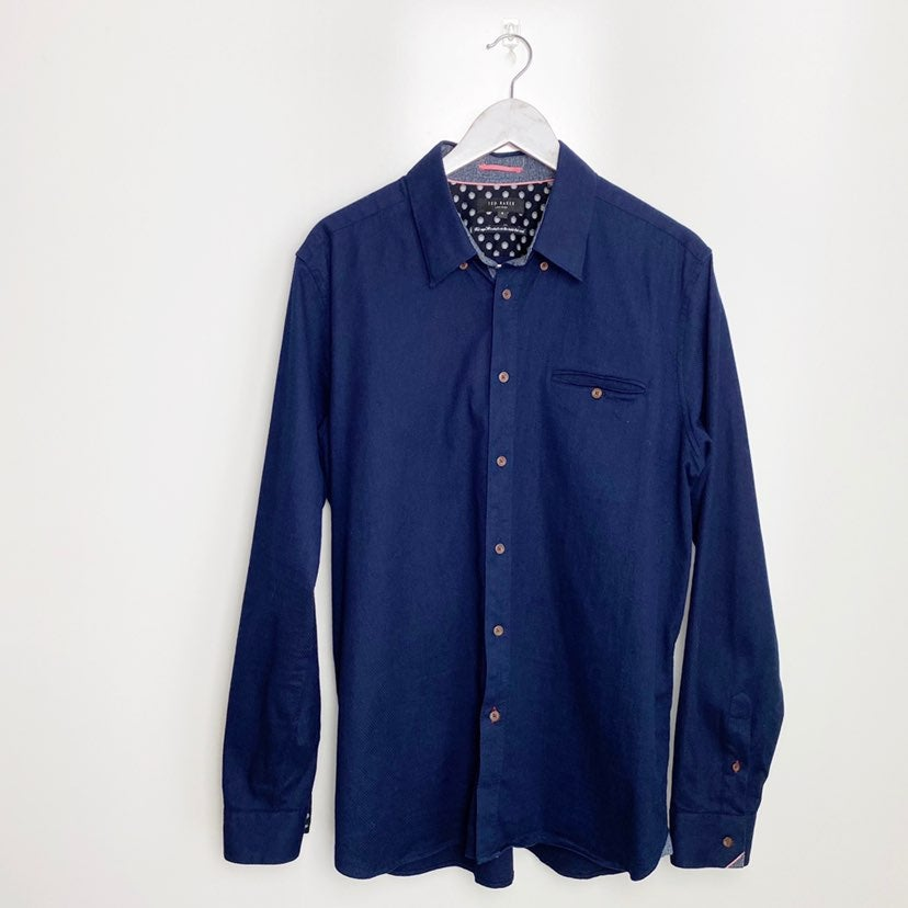 TED BAKER 2XL Navy Blue Button Down Shir