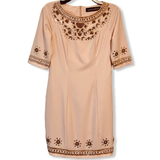 Boohoo Night Beaded Dress Blush Sheath