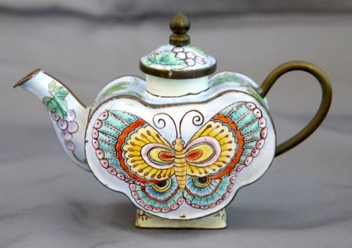 Chinese Canton Enamel Butterfly Teapot