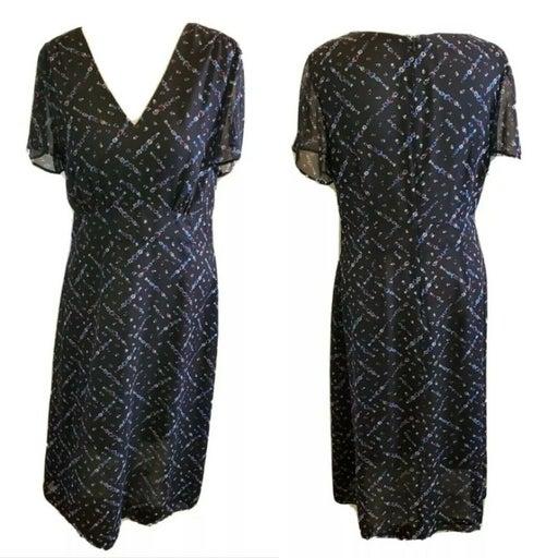 90s Pendleton Midi Dress Silk Black 12