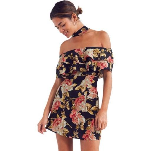 UO Roe + May Dottie Floral Choker Dress