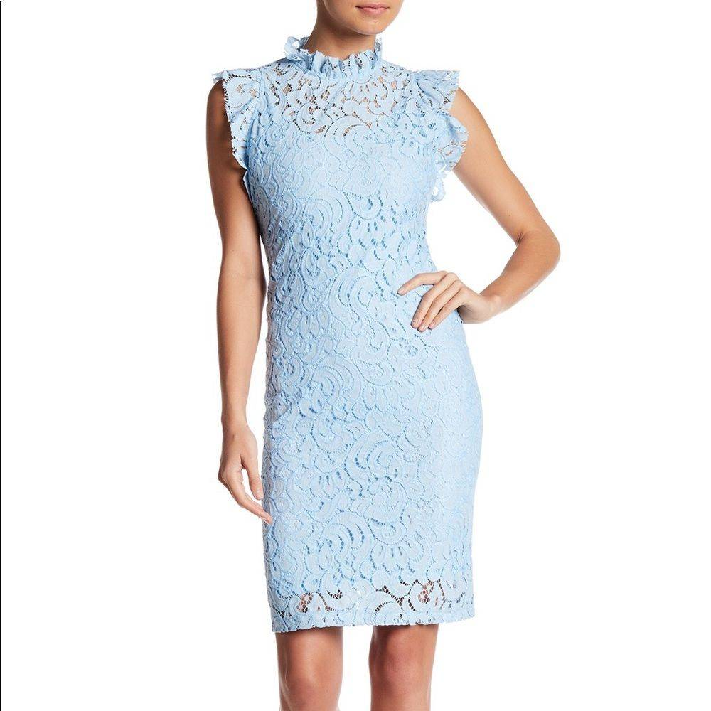 Alexia Admor Carrie Ice Blue Lace  Dress