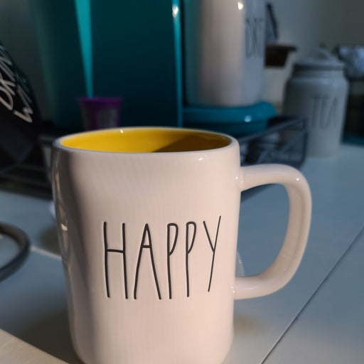 New Rae Dunn  HAPPY Coffee Mug Yellow In
