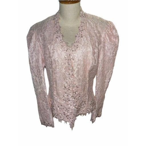 Vintage 80s Cachet Bari Protas Lace Jacket Top 9/10 Pink Victorian Wedding Mom