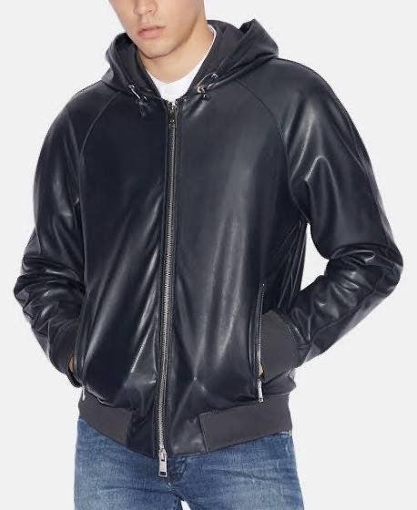 Armani Exchange Mens Hooded Leather Bomb