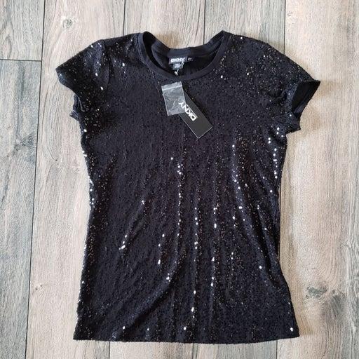 Nwt DKNY black stretchy sequin tshirt