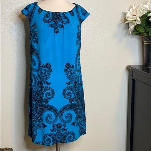 London Times Blue Paisley Shift Dress Size 10