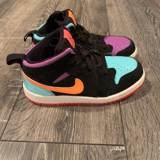 Nike Air Jordan 1 Mid Candy 10C Mismatch Orange Purple 640734-083  Shoes 10 Kids