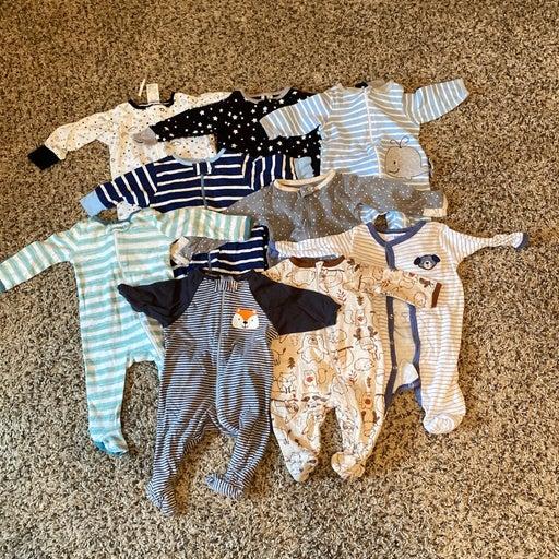 Baby boy sleepers lot bundle of 9 0-3 m