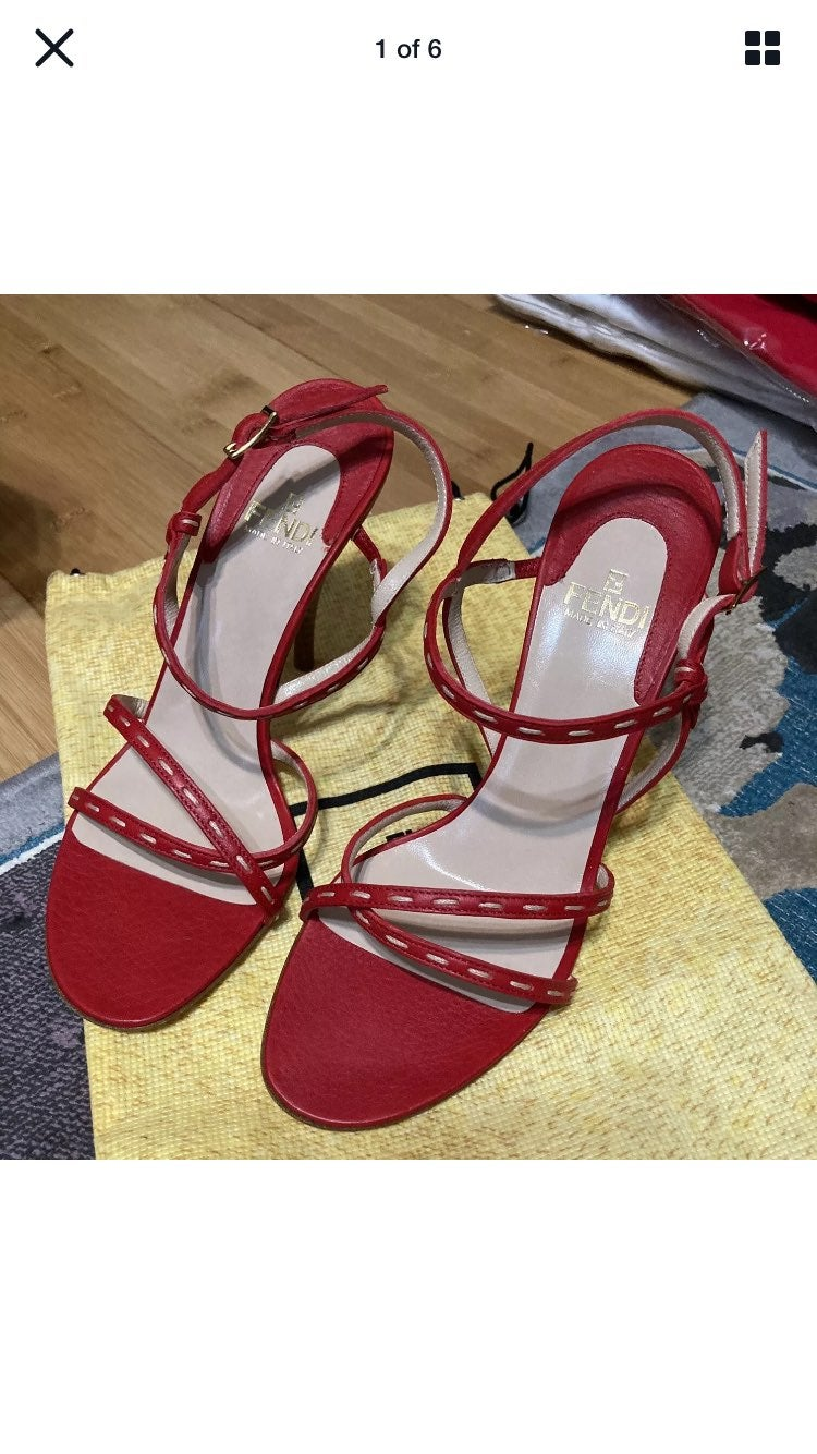 Nib fendi strappy sandal 37.5 7 red
