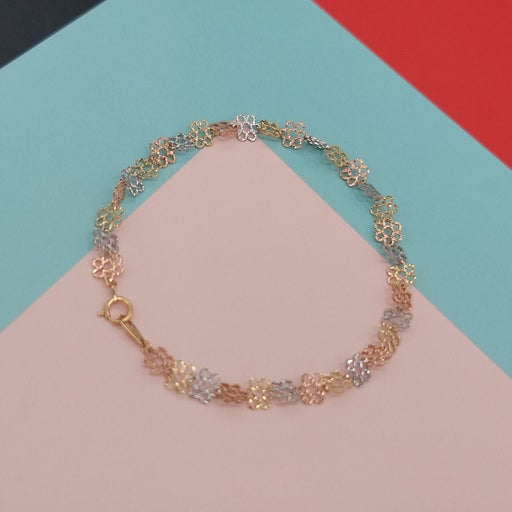 Fine tricolor 14k gold floral Bracelet