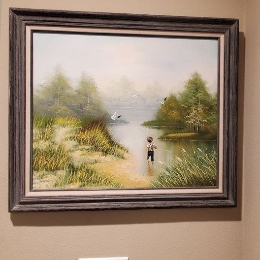 """Vtg Oil Painting """"Playing Hooky"""" 29""""x25"""""""