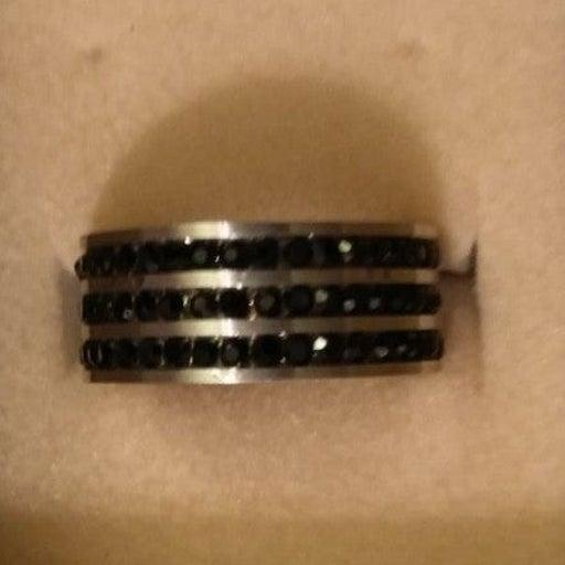 Stainless Steel Black Gem Ring