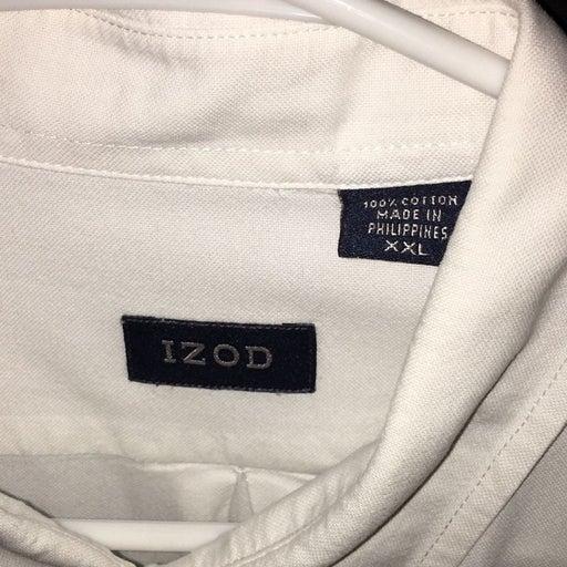 IZOD Men's Long Sleeve Button Down Shirt - White - Size XXL - Good Used Conditio