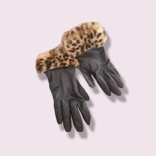 Leopard fuax leather gloves