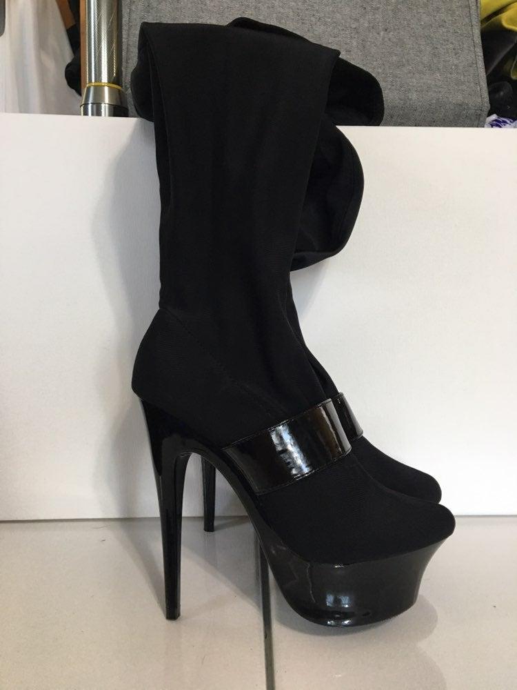 Thigh high platform heel boots