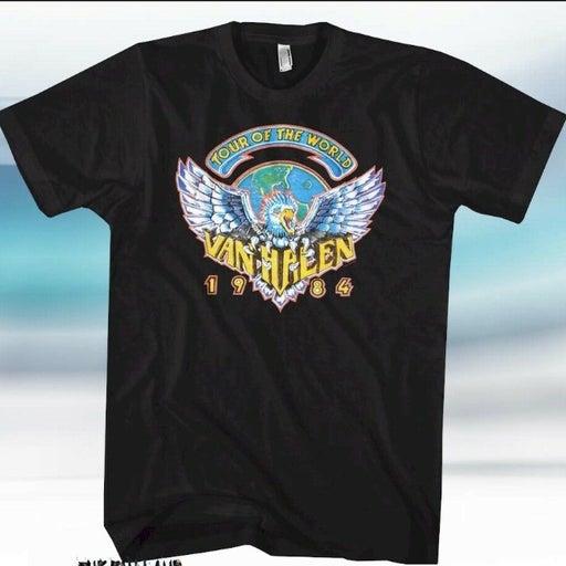 New Van Halen 1984 Tour Of The World Concert Black Vintage Retro Mens T-Shirt