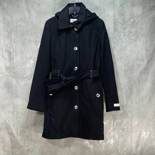 CALVIN KLEIN Black Long Hooded Belted Coat SZ M