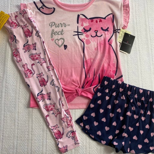 CUDDL DUDS GIRLS Size 4 Top, Shorts and Pants Pajama Set