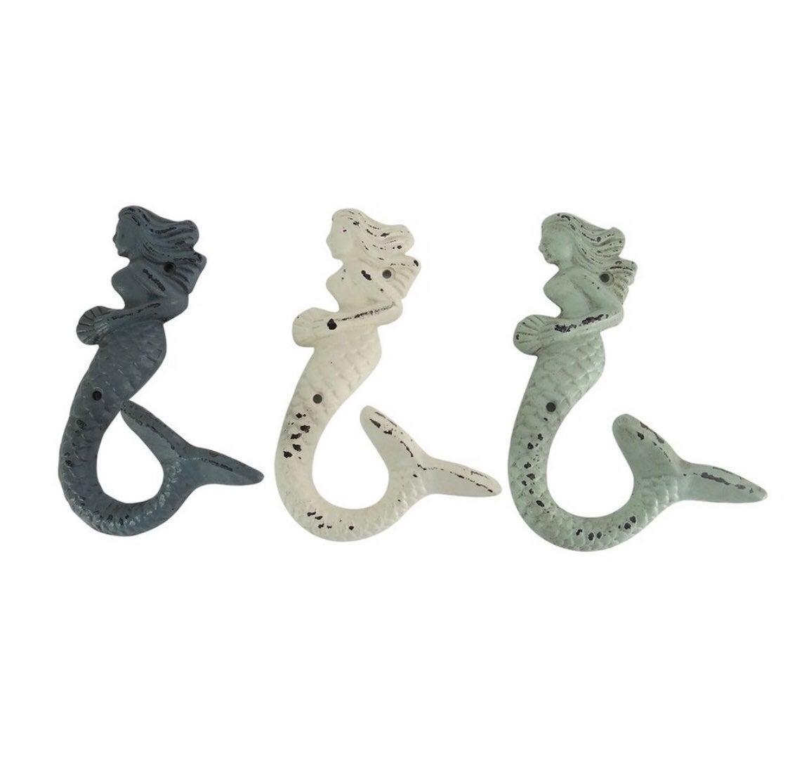 Mermaid Cast Iron Hooks- New In Box