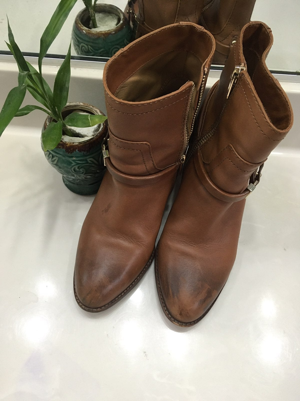 All Leather Cogniac Boots